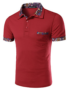 Men's Casual/Daily Simple Summer Polo,Solid Short Sleeves Cotton