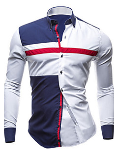 Men's Daily Plus Size Casual Spring Fall Shirt,Color Block Classic Collar Long Sleeves Cotton