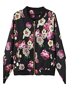 Women's Casual/Daily Simple Bomber Jacket,Floral Round Neck Long Sleeve Short Cotton