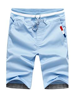 Menn Fritid / Plusstørrelse Ensfarget Shorts,Bomull / Polyester Svart / Blå / Grønn / Oransje / Hvit