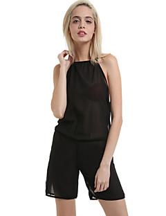婦人向け プラスサイズ / セクシー / カジュアル / キュート シフォン ジャンプスーツ,伸縮性なし 薄手 ノースリーブ