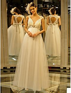 billige Den første dansen-A-linje Dronning Anne Gulvlang Blonder / Tyll Made-To-Measure Brudekjoler med Blonder / Belte / bånd / Blomsternål i krystall av LAN TING