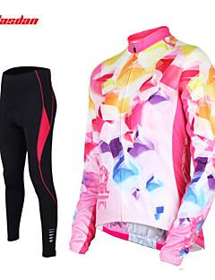 billige Sett med sykkeltrøyer og shorts/bukser-TASDAN Dame Langermet Sykkeljersey med tights - Blå Rosa Sykkel Tights Jersey Bukser Klessett, Fort Tørring, Pustende, Svettereduserende,