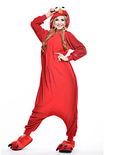 billige Kigurumi-Voksne Kigurumi-pysjamas Monster Cookie Anime Onesie-pysjamas Polar Fleece Rød Cosplay Til Damer og Herrer Pysjamas med dyremotiv Tegnefilm Festival / høytid kostymer