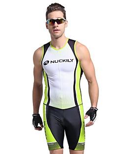 Nuckily Triathlondrakt Herre Kort Erme Sykkel Vest Triatlon JerseyAnatomisk design Ultraviolet Motstandsdyktig Fukt Gjennomtrengelighet