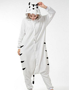 billige Kigurumi-Voksne Tiger Onesie-pysjamas Polar Fleece Hvit Cosplay Til Damer og Herrer Pysjamas med dyremotiv Tegnefilm Festival / høytid kostymer