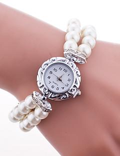 Mulheres Relógio de Moda Bracele Relógio Quartzo Plastic Banda Pérolas Elegantes Branco Azul Vermelho Rosa Branco Vermelho Azul Rosa claro