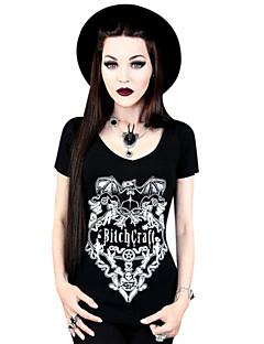 Bluse/Skjorte Klassisk og Tradisjonell Lolita Cosplay Lolita-kjoler Svart Trykt mønster T-Trøye Til Elastan Terylene