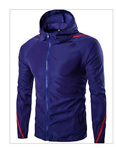 男性用 ストライプ カジュアル / スポーツ ジャケット,長袖,コットン,ブラック / ブルー / ホワイト