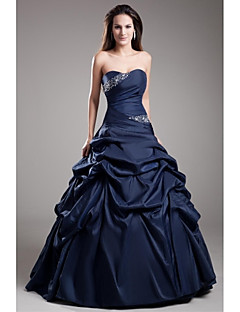 cheap -Ball Gown Strapless Floor Length Taffeta Formal Evening Dress with Beading Pick Up Skirt by TS Couture®