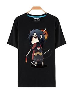 billige Anime-hættetrøjer og -sweatshirts-Inspireret af Naruto Sasuke Uchiha Anime Cosplay Kostumer Cosplay T-shirt Trykt mønster Kortærmet Top Til Mand