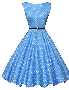 abordables Selección de Bloggers-Mujer Vintage Línea A / Corte Skater Vestido - Estampado, A Lunares Hasta la Rodilla Azul / Verano