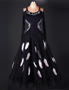 お買い得  ソシアルダンスウェア-ボールルームダンス ドレス 女性用 性能 ナイロン / オーガンザ ドレープ ドレス / モダンダンス