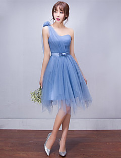 cheap Imperial Blue-A-Line One Shoulder Short / Mini Tulle Bridesmaid Dress with Side Draping by Amgam