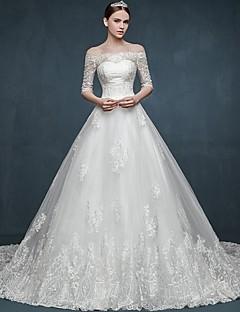 볼 드레스 성당 트레인 튤 웨딩 드레스 와 아플리케 으로 HQY