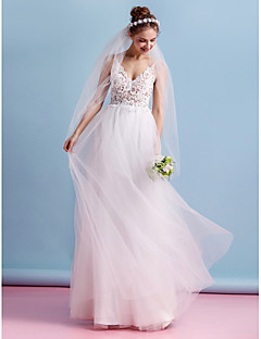 A-Line Spaghetti Straps Floor Length Lace Tulle Wedding Dress with Lace by LAN TING BRIDE®