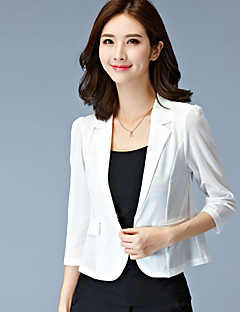 Women's Solid White / Black Blazer,Plus Size / Simple Shirt Collar ¾ Sleeve
