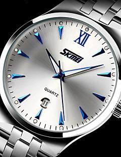 SKMEI Bărbați Ceas Elegant Quartz Quartz Japonez Calendar Rezistent la Apă Iluminat Oțel inoxidabil Bandă Argint