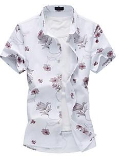 メンズ カジュアル/普段着 プラスサイズ 夏 シャツ,シンプル レギュラーカラー フラワー コットン ポリエステル 半袖