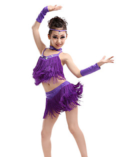 cheap Latin Dance Wear-Latin Dance Outfits Performance Polyester Spandex Crystals / Rhinestones Tassel Sleeveless High Top Skirt Gloves Neckwear Headwear