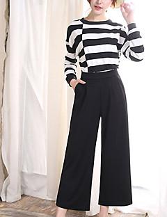 Χαμηλού Κόστους Cropped Pants-Γυναικεία Μεγάλα Μεγέθη Μικροελαστικό Πλατύ Πόδι Τζιν Παντελόνι Πολυεστέρας Μονόχρωμο Καλοκαίρι