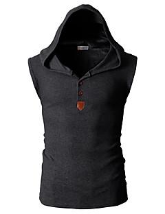 billige Herremote og klær-Bomull Tynn Med hette Store størrelser Singleter Herre - Ensfarget Aktiv Sport