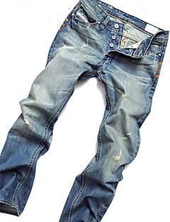 billige Herrebukser og -shorts-Herre Bomull Rett Løstsittende Chinos Jeans Bukser - Grunnleggende, Ensfarget