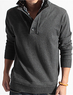 Men's Daily Casual Regular Pullover,Solid Stand Long Sleeves Cotton Winter Fall Medium Stretchy