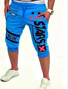 billige Herrebukser og -shorts-Herre Aktiv Bomull Aktiv Shorts Joggebukser Bukser - Grunnleggende, Trykt mønster Bokstaver