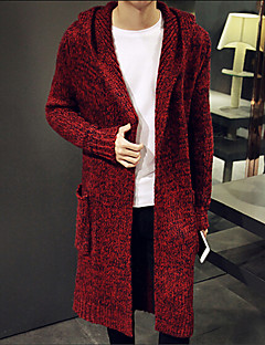tanie Męskie swetry i swetry rozpinane-Męskie Weekend Długi Rozpinany Jendolity kolor Długi rękaw