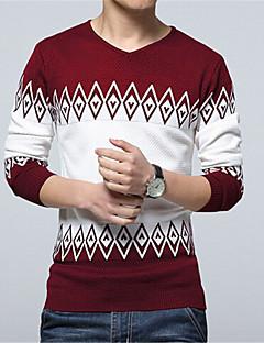 お買い得  メンズセーター&カーデガン-男性用 日常 / 週末 長袖 プルオーバー - カラーブロック