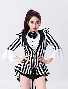 Shall We Jazz Leotards Outfits Women Performance Cotton / Polyester Bow(s) Stripe Magician Dance Costumes Black