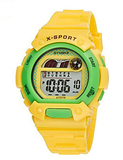 billige Børneure-SYNOKE Digital Digital Watch Armbåndsur Sportsur Alarm Kalender Kronograf Vandafvisende LCD Selvlysende Gummi Bånd Vedhæng Blåt Grøn Pink