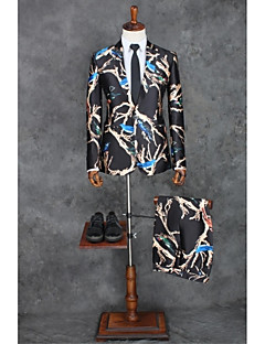 Black Patterns Tailored Fit Polyester Suit - Peak Single Breasted One-button