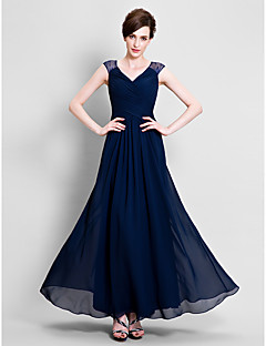 A-Line V-neck Ankle Length Chiffon Lace Mother of the Bride Dress with Lace Criss Cross by LAN TING BRIDE®