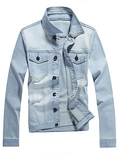 男性用 プレイン カジュアル ジャケット,長袖,コットン,ブルー