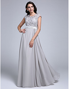 cheap -Sheath / Column Jewel Neck Floor Length Chiffon Lace Prom / Formal Evening Dress with Lace by TS Couture®