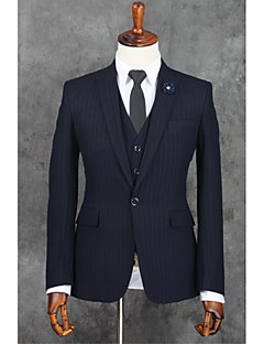 Dark Blue Stripes Slim Fit Polyester Suit - Notch Single Breasted One-button
