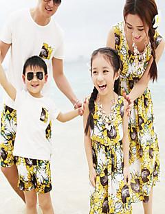 ユニセックス カジュアル/普段着 フラワー コットン セット 夏 半袖 ドレス アンサンブル
