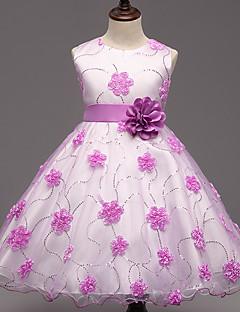 Mädchen Kleid Ausgehen Blumen Polyester Sommer Ärmellos