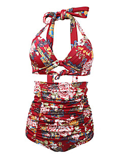 billige Bikinier og damemote-Dame Høy Midje Store størrelser Vintage Grime Hvit Svart Vin Høy Midje Bikini Badetøy - Blomstret Trykt mønster