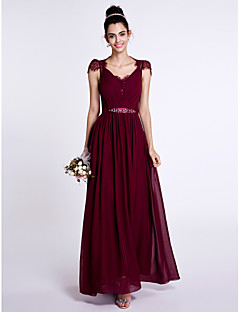 Sheath / Column V-neck Ankle Length Chiffon Lace Bridesmaid Dress with Beading Bow(s) Lace by LAN TING BRIDE®