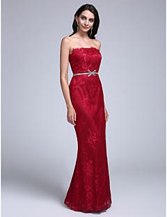 hesapli Balo Elbiseleri-Sütun Straplez Yere Kadar Dantelalar Dantel ile Balo Resmi Akşam Elbise tarafından TS Couture®