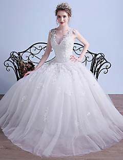 Ball Gown V-neck Floor Length Tulle Wedding Dress with Beading Appliques by DRRS