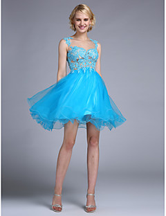 cheap -A-Line Fit & Flare Bateau Neck Knee Length Tulle Cocktail Party / Homecoming / Prom / Holiday Dress with Beading Appliques by TS Couture®
