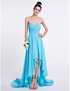 cheap Imperial Blue-A-Line Sweetheart Asymmetrical Chiffon Bridesmaid Dress with Beading Ruched by LAN TING BRIDE®