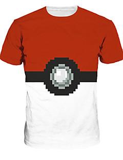 """Inspirert av Pocket Little Monster Lite monster Anime  """"Cosplay-kostymer"""" Cosplay T-skjorte Trykt mønster Hvit Rød Kort Erme T-skjorte Til"""
