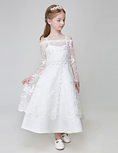 cheap Flower Girl Dresses-Ball Gown Ankle Length Flower Girl Dress - Polyester Tulle Long Sleeves Spaghetti Straps with Appliques by LAN TING BRIDE®