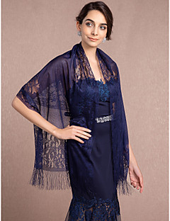 cheap Wedding Wraps-Lace Tulle Wedding Party Evening Wedding  Wraps With Lace Tassel Shawls