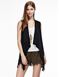 heartsoul kvinners går ut enkle sommerjakker, solid rund hals ermeløs svart / brun bomull / polyester / spandex tynn
